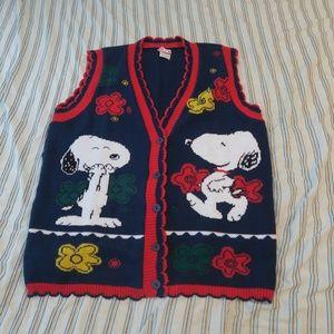 VTG Snoopy & Friends Floral Cardigan Sweater Vest